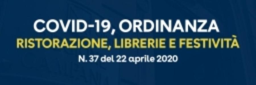 Ordinanza n.37 del 22 aprile 2020: dal 27 aprile prossimo aperture di esercizi di ristorazione, cartolerie, librerie.